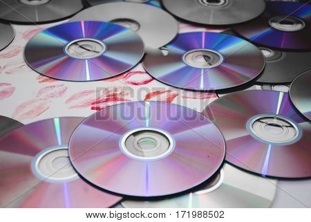 The old cd on the white background