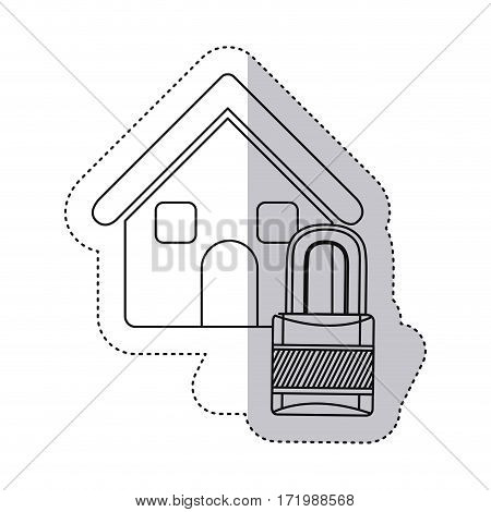 sticker monochrome contour house with padlock vector illustration