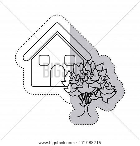 sticker monochrome contour house with tree vector illustration