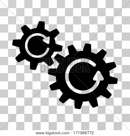 Cogs Rotation vector pictograph. Illustration style is a flat iconic black symbol on a transparent background.
