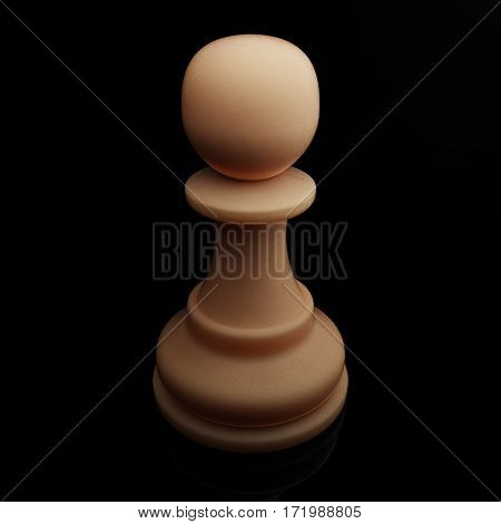White Pawn. Chess figure, 3D Render Illustration isolated with clipping path.