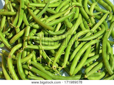 Green beans casserole also known as string beans or snap beans background. Vegan Food.
