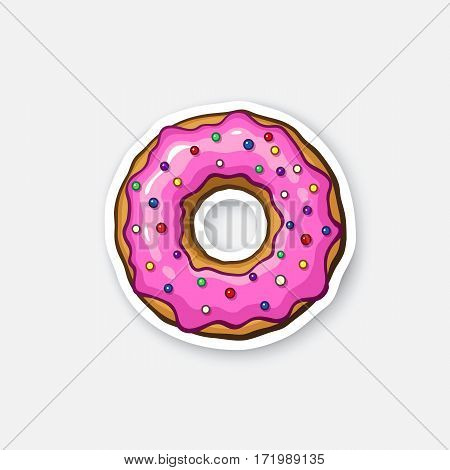 Vector illustration. Donut with pink glaze and colored powder. Cartoon sticker in comics style with contour. Decoration for greeting cards, posters, patches, prints for clothes, emblems