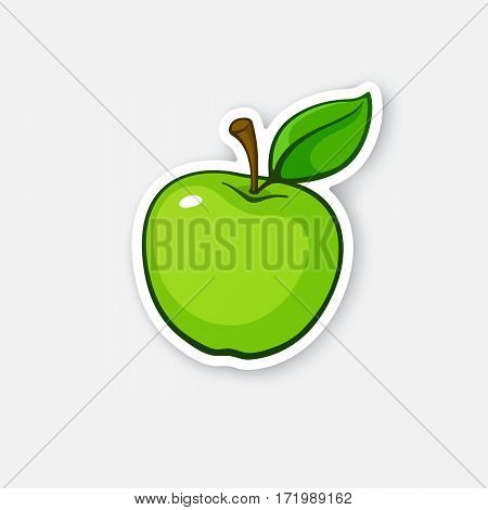 Vector illustration. Green apple with stem and leaf. Healthy vegetarian food. Cartoon sticker in comics style with contour. Decoration for greeting cards, posters, patches, prints for clothes, emblems