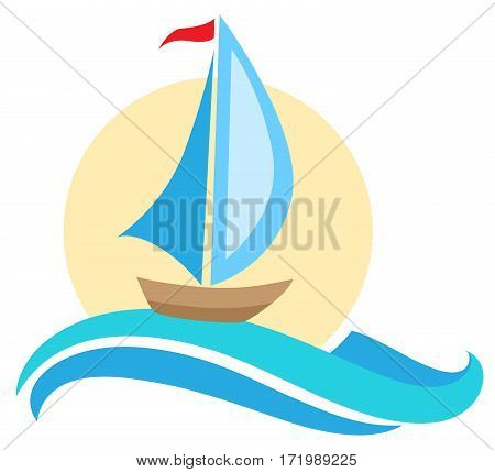 Vector sailing ship icon. Travel concept. Boat and blue wave.