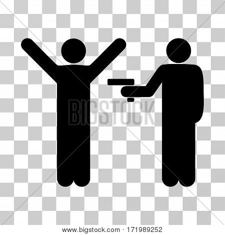 Crime Robbery vector pictograph. Illustration style is a flat iconic black symbol on a transparent background.
