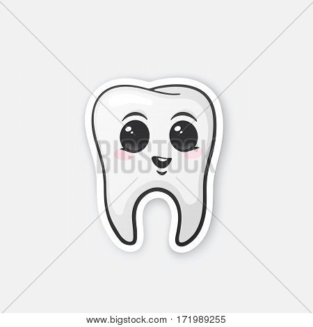 Vector illustration. Happy tooth with eyes and blusher. Oral hygiene. Cartoon sticker in comics style with contour. Decoration for greeting cards, posters, patches, prints for clothes, emblems