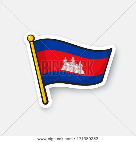 Vector illustration. Flag of Cambodia. Location symbol for travelers. Cartoon sticker with contour. Decoration for greeting cards, posters, patches, prints for clothes, emblems