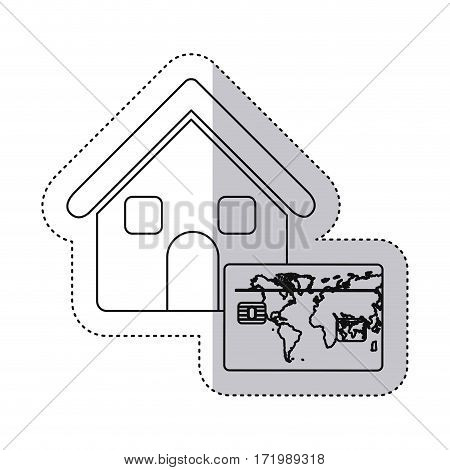 sticker monochrome contour house with frame map of the world vector illustration