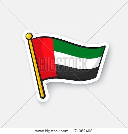 Vector illustration. Flag of the United Arab Emirates. Location symbol for travelers. Cartoon sticker with contour. Decoration for greeting cards, posters, patches, prints for clothes, emblems