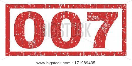 007 text rubber seal stamp watermark. Tag inside rectangular shape with grunge design and unclean texture. Horizontal vector red ink sign on a white background.