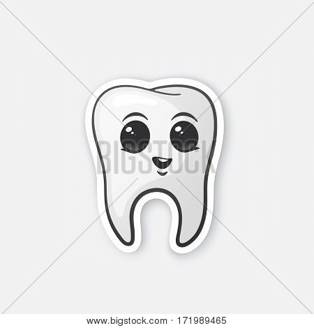 Vector illustration. Happy tooth with eyes. Oral hygiene. Cartoon sticker in comics style with contour. Decoration for greeting cards, posters, patches, prints for clothes, emblems