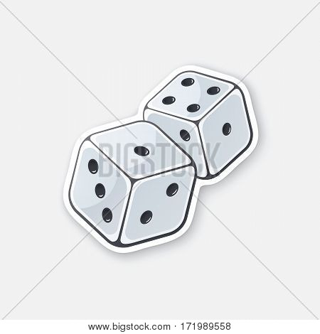 Vector illustration. Two white dice with contour. Gambling symbol. Cartoon sticker in comics style. Decoration for greeting cards, posters, patches, prints for clothes, emblems