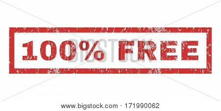 100 Percent Free text rubber seal stamp watermark. Caption inside rectangular shape with grunge design and scratched texture. Horizontal vector red ink sticker on a white background.