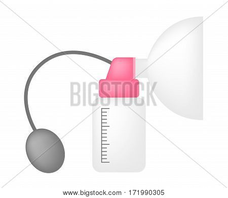 Manual breast pump vector on white background