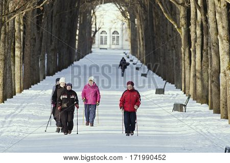 St. Petersburg (Pavlovsk Park)Russia - 15 February 2017: Elderly women are engaged in the Nordic walking in the winter park.