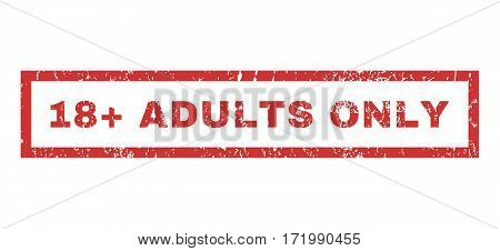 18 Plus Adults Only text rubber seal stamp watermark. Tag inside rectangular shape with grunge design and unclean texture. Horizontal vector red ink sign on a white background.