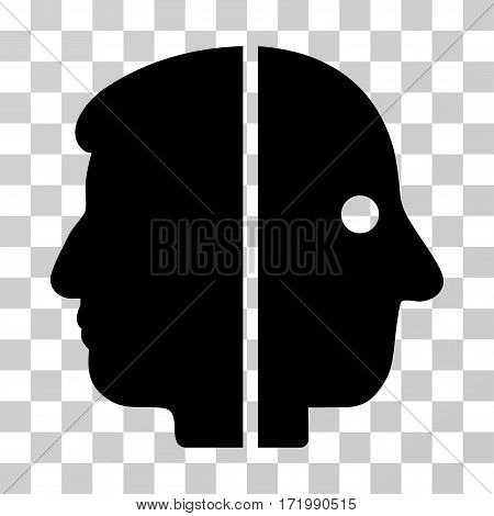 Dual Face vector icon. Illustration style is a flat iconic black symbol on a transparent background.