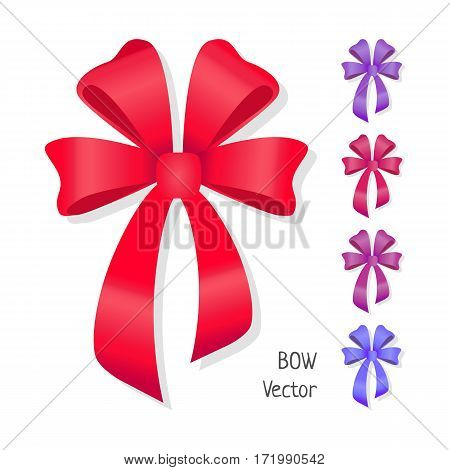 Vector bow set isolated on white. Different colors of present bows. Pussy bright bow knots. Ribbons in flat design. Overwhelming bow decorative elements. Vector cartoon illustration of classical bows