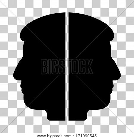 Dual Face vector pictogram. Illustration style is a flat iconic black symbol on a transparent background.