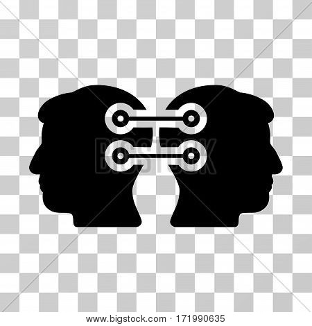 Dual Heads Interface Connection vector pictograph. Illustration style is a flat iconic black symbol on a transparent background.