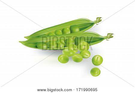 Opened-up raw sweet peas on white background