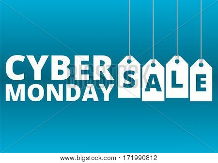 Simple Cyber Monday sale on blue background