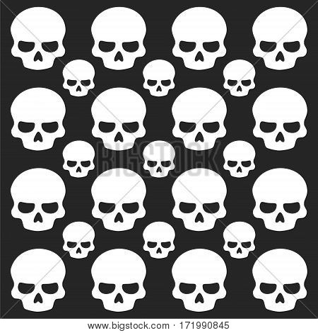 Skull icon on black background, simple vector illustration