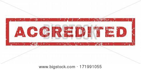 Accredited text rubber seal stamp watermark. Caption inside rectangular banner with grunge design and dirty texture. Horizontal vector red ink emblem on a white background.