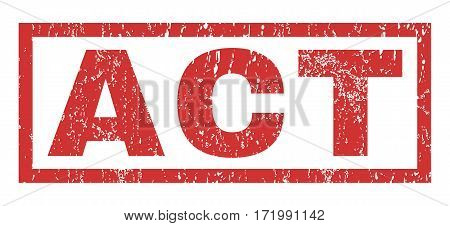 Act text rubber seal stamp watermark. Caption inside rectangular shape with grunge design and scratched texture. Horizontal vector red ink sticker on a white background.