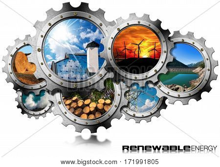 Renewable Energy Concept - 3D illustration of a group of gears with the sustainable energies. Wind solar biomass hydropower power of the sea