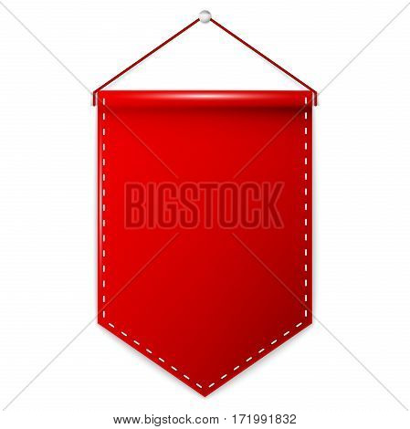 Red pennant hanging, mockup. Vector illustration EPS 10