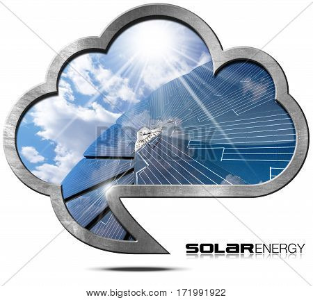 Solar Energy - 3D Illustration of a metallic cloud in the shape of speech bubble with a solar panel blue sky clouds and sun rays. Isolated on white background