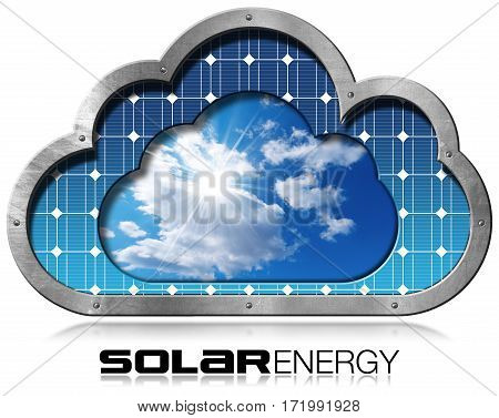 Solar Energy - 3D Illustration of a metallic cloud with a solar panel blue sky clouds and sun rays inside. Isolated on white background