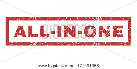 All-In-One text rubber seal stamp watermark. Caption inside rectangular banner with grunge design and scratched texture. Horizontal vector red ink emblem on a white background.