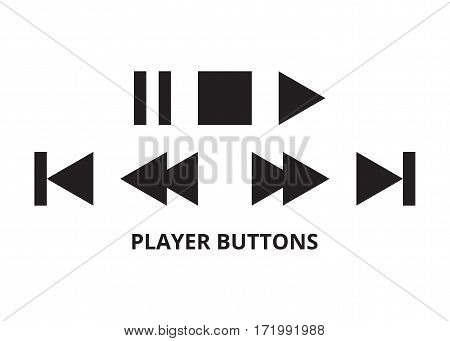 Player buttons isolated on white background. Vector illustration.