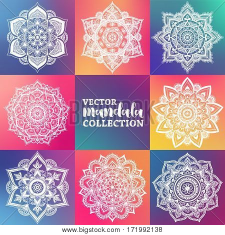 Vector Set Of Arabic Mandala On Hipster Gradient Background. Bohemian Ornament For Posters And Logo