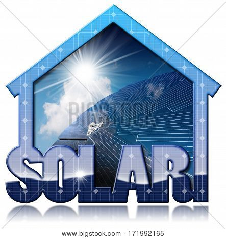 3D illustration of a blue solar house with a solar panel inside with blue sky clouds and sun rays. Isolated on white background