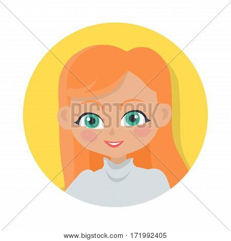 Girl with long red hair and forelock avatar userpic. Portrait of nice female person with green eyes and flush. Grey turtleneck. Lady in circle. Cartoon style. Flat design. Vector illustration