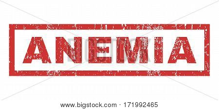 Anemia text rubber seal stamp watermark. Caption inside rectangular banner with grunge design and unclean texture. Horizontal vector red ink sticker on a white background.