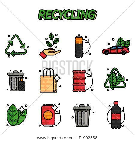 Recycling flat icons set . Icons for ecology, think green, recycle and save the planet.