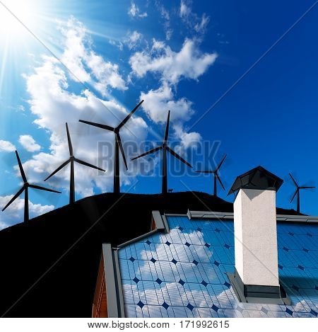 Wind and Solar Energy Concept - Closeup of a house roof with a solar panel and an 3D illustration of a group of wind turbines on a blue sky with clouds and sunbeams