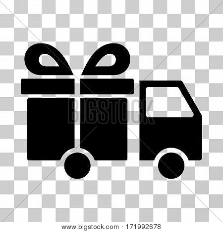Gift Delivery Van vector icon. Illustration style is a flat iconic black symbol on a transparent background.
