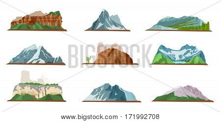 Nature mountain silhouette elements set. Outdoor icon hill tops. Ice-hill, barrow mountain heap pile mount. Trees, lake near mountains. Camping landscape travel climbing or hiking mountains. Vector