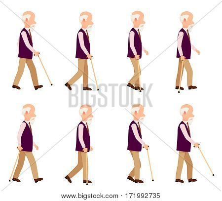 Collection of icons with old man. Walking retired male with stick. Pictures with different movements, actions. Violet vest, light trousers. Cartoon style. Elderly man in motion. Flat design. Vector