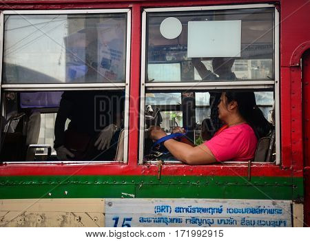 People On The Local Bus In Bangkok, Thailand