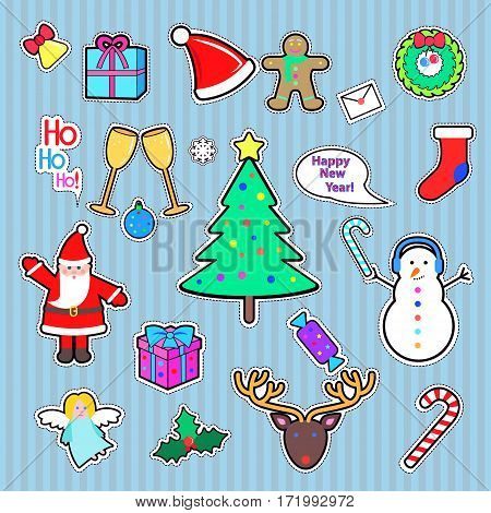 Set of Happy New Year and Merry Christmas patch. Cut out of paper. Patch Xmas tree, snowman, present, Santa Claus, deer, candy stick, speech bubble, gift, angel. Patch in cartoon style. Vector