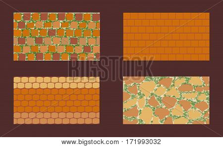 Different types of masonry. The patterns of brickwork with green grass on dark background . Vector illustration. Horizontal location.