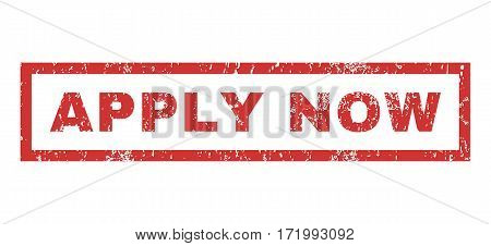 Apply Now text rubber seal stamp watermark. Caption inside rectangular shape with grunge design and unclean texture. Horizontal vector red ink sticker on a white background.