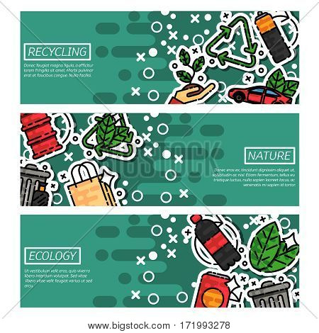 Set of Horizontal Banners about recycling. Vector illustration, EPS 10